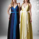 Three tone V-neck halter chiffon dress, with sash at the waist(center color will be sash) and criss cross back. White