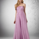 Shirred strapless with Charmeuse band detail and Chiffon overlay Charmeuse skirt.