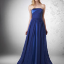Strapless charmeuse with chiffon shirred detail, charmeuse skirt with chiffon overlay.