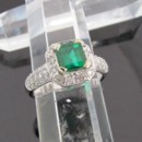 Emerald 14k White Gold Diamond Halo Ring