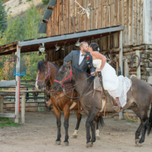 220x220 sq 1444014362233 bearcat stables wedding kissing on horses