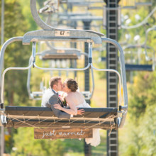 220x220 sq 1474912614329 granby ranch wedding mountain chairlift kiss