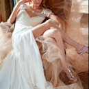 StyleHP6308 - Jordan Ivory silk georgette sheath bridal gown with grecian draping and peek-a-boo slit, alabaster and crystal encrusted bolero and chapel train