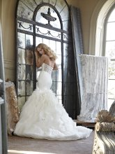 Gianna Silk Organza fit-to-flare bridal gown with crystallized sheer corset back and fluttered organza manipulated skirt.