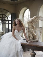 Hattie Crystal Georgette ballet bodice bridal ball gown with a manipulated Georgette, Organza and Tulle skirt.