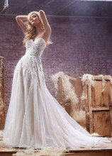Style HP6412  <br /> Alabaster tulle A-line bridal gown, with crystal encrusted bodice and skirt, sweetheart neckline and chapel train.