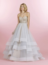 Style 6453/Josie  Moonstone tulle ball gown with alabaster and crystal sweetheart strapless bodice, tiered tulle skirt with wide horsehair trim and chapel train