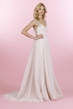 Style 6456/Houston  Pink Quartz English net A-line gown, crossover draped bodice with alabaster encrusted keyhole back and beaded trim at the natural waist