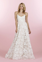 Style 6459/Langston  Ivory/cashmere lace A-line skirt, double horsehair trim at hem and chapel train
