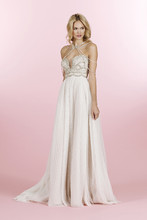 Style 6462/Dani  Ivory over cashmere A-line gown, beaded strapless bodice with sweetheart neckline and crystal draped bolero, pleated English net A-line skirt, with chapel train