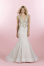 Style 6463/Sasha  Moonstone English net fit to flare gown, stunning allover encrusted bodice with geometric beaded detail continued through the hip, deep V-neckline with cap sleeve and open back with crystal belt detail