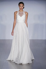 Style 6500/Megan  Ivory pleated English net A-line gown, hlater illusion neckline with lace applique and sweetheart lining, studded trim detail throughout bodice and accenting the keyhole back