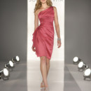 8190 Cocktail length Sheath dress in Satin. One-shoulder neckline, gathered bodice with Chiffon frill accent.