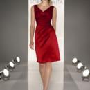 8199 Cocktail length A-line dress in Satin. Sleeveless V-neckline , draped bodice.