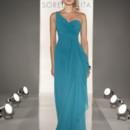8201 Full length modified A-line gown in Chiffon. One-shoulder neckline with draped bodice gathering at the waist.