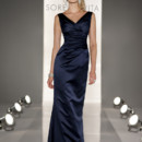 8202 Full length gown in Satin. Sleeveless V-neckline, gathered bodice.