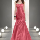 8215 Dramatic strapless Satin gown features a heavily pleated bodice and dropped waist, and a lace up back closure.