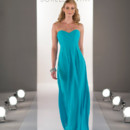 STYLE 8405 Strapless chiffon floor-length dress has a criss-crossed ruched bodice and sweetheart neckline.