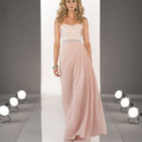 Style 8424 Strapless floor length gown featuring a pleated Satin bodice, a soft Chiffon skirt, and a 1