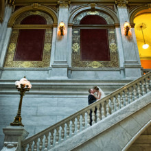 220x220 sq 1375817260099 wedding photo bride and groom kissing at the ohio statehouse