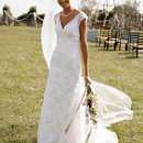 David's Bridal Collection T9612 All over beaded lace trumpet gown
