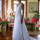 David's Bridal Collection WG3260 Chiffon Halter A-line Gown with Side Drape