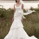 David's Bridal Collection PK3472 Taffeta Scoop Neck Ruched Bridal Gown with Tiering