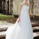 David&#39;s Bridal Collection  <br />Style T8612  <br /> Satin A-line with Lace Embroidered Cap Sleeves