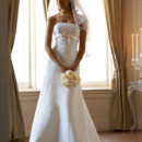 David's Bridal Collection  Style T9395  Satin Trumpet Gown with Beaded Metallic Lace