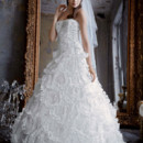 David's Bridal LUXE  Style PWG3511 Beaded Wedding Gown with Tiered Scallop Skirt