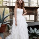 Galina  <br /> Style PK3357  <br /> Strapless Tulle Ball Gown with Ruffle Skirt