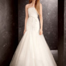 White by Vera Wang  <br /> Style VW351177  <br /> Strapless Satin and Organza Fit and Flare Gown
