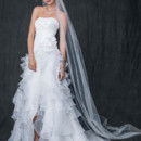 David&#39;s Bridal Collection Style T3505  <br /> Strapless Organza High Low Ruffle Skirt Gown
