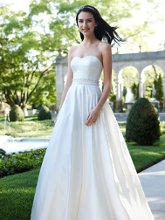 Davids Bridal Collection Style WG3389  <br /> Strapless Satin A-Line with Beaded Waistband