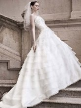 Oleg Cassini Style CWG461  <br /> A-line Gown with Draped Straps and Beaded Lace