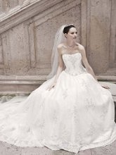Oleg Cassini Style CWG406  <br /> Strapless Organza Ball Gown with Lace Appliques