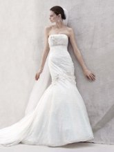 Oleg Cassini Style CWG377  <br /> Lace Fit and Flare Gown with Floral Details