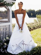 David's Bridal Collection T8076 Satin A-Line with Asymmetrical Skirt