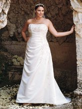 David's Bridal Woman 9V9665 A-line Side Drape Strapless Gown