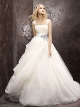 White by Vera Wang Style VW351129  <br /> Tulle Ball Gown with Asymmetrical Draped Skirt