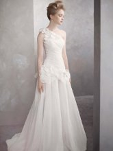 White by Vera Wang Style VW351090  <br /> One-Shoulder Basket-Weave Organza Gown