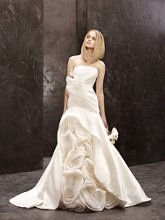 White by Vera Wang Style VW351118  <br /> Mikado Fit-and-Flare with Side Draped Bodice