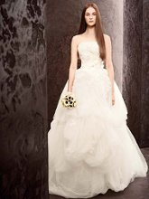 White by Vera Wang WVW351162 Tulle Ball Gown with Lace Appliques