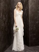 White by Vera Wang Style VW351139  <br /> Crinkle Chiffon Column Gown with Sheer Straps