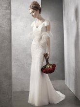 White by Vera Wang WVW351021 V Neck Soft A Line Gown with Hand Appliqued Lace