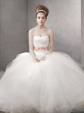 White by Vera Wang WVW351007 Ball Gown with Asymmetrically Draped Bodice