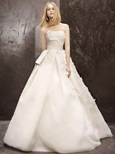 White by Vera Wang WVW351124 Basket Weave Organza Gown with Floral Detail