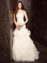 White by Vera Wang WVW351166 Strapless Tulle and Organza Fit and Flare Gown