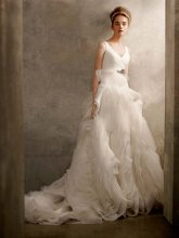 White by Vera Wang Style VW351029  <br /> V Neck Ball Gown with Fully Draped Skirt