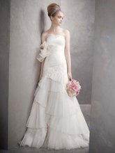 White by Vera Wang Style VW351020  <br /> Satin Faced Organza Fit and Flare Gown
